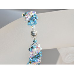 Bracelet cristal Swarovski large crystal ab2x-caribbean blue opal ab2x  fermoir aimant