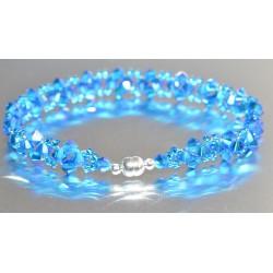 Bracelet fin cristal Swarovski capri blue ab2x avec fermoir aimanté