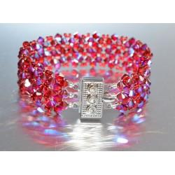 Bracelet cristal  Swarovski fermoir strass manchette bronze shade 2x
