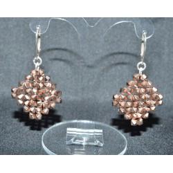 Boucles d'oreille cristal swarovski clous cube argent 925 Gouttes baroque et losange aquamarine ab2x