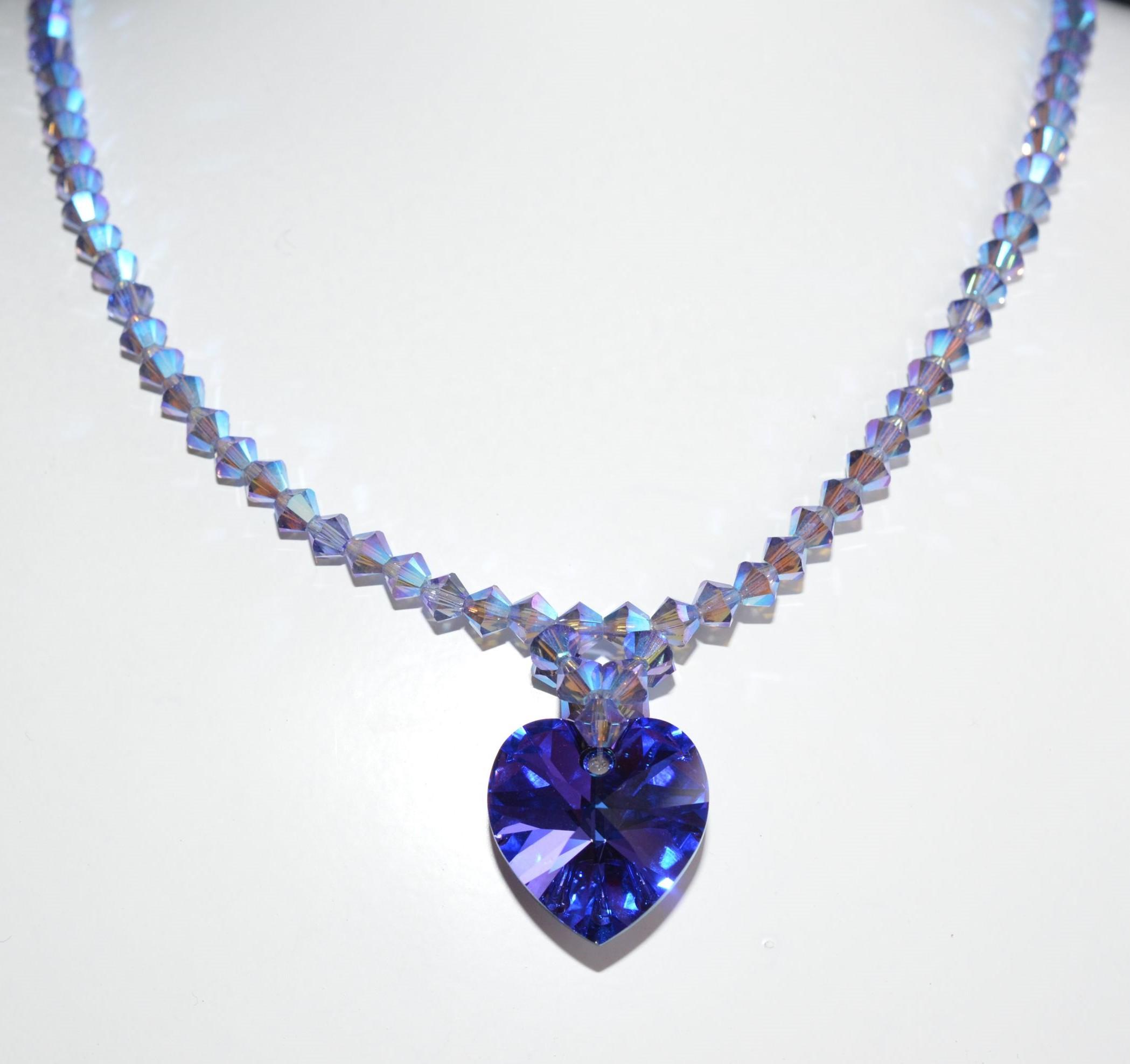 Collier cristal Swarovski tanzanite ab2x coeur crazy crystal héliotrope