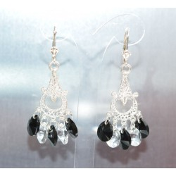Boucles d'oreille Swarovski argent 925 losange crystal rose gold 2x
