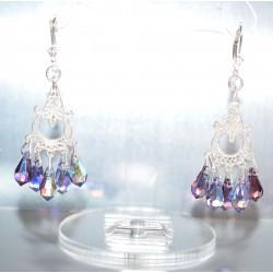 Boucles d'oreille argent 925-cristal de Swarovski mini poire jet et crystal
