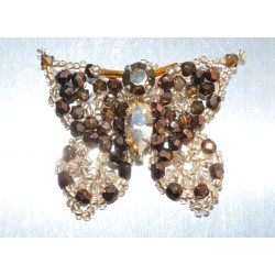 Broche cristal de Swarovski papillon crystal golden shadow et bronze shade 2x