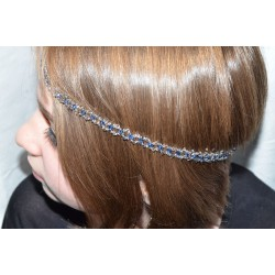Headband en cristal de Swarovski crystal satin et light sapphire satin