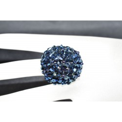 Bague cristal de Swarovski boule crystal metallic blue 2x