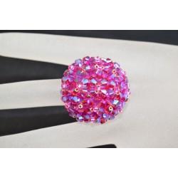 Bague en cristal de Swarovski boule fuschia ab2x