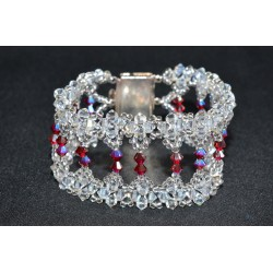"Bracelet cristal  Swarovski ""Somptueux"" extra large crystal ab2x et purple velvet ab2x"