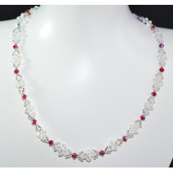"Collier ""l'eau claire"" cristal de Swarovski crystal moonlight et light siam ab satin"