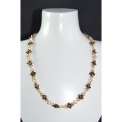 "Collier ""Feuillage"" cristal de Swarovski  crystal golden shadow et bronze shade 2x"