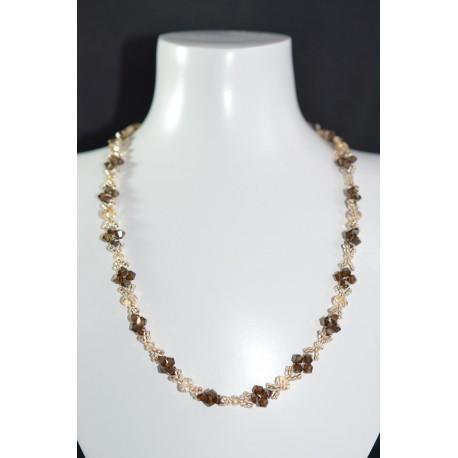 """Collier """"Feuillage"""" cristal de Swarovski  crystal golden shadow et bronze shade 2x"""