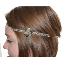 Headband en cristal de Swarovski fleur crystal moonlight et black diamond