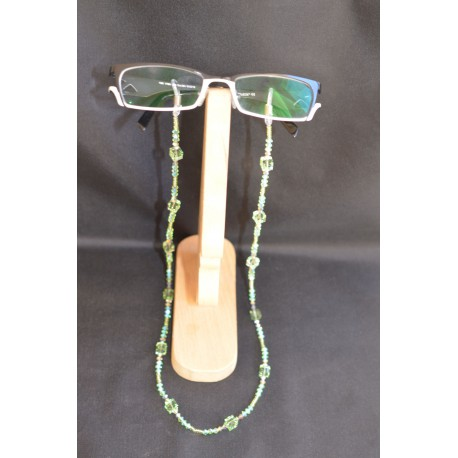 Cordon à lunettes en crystal de Swarovski péridot avec cube