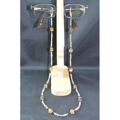 Cordon à lunettes en crystal de Swarovski golden shadow avec cube