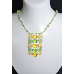 """Collier """"Renouveau"""" cristal de Swarovski péridot ab2x et jonquille ab2x"""