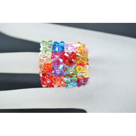 Bague cristal de Swarovski multiviminée-multicolore