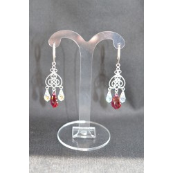 Boucles d'oreille argent 925-cristal Swarovski fuschia et crystal
