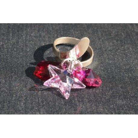 Bague argent 925 et crystal de Swarovski breloque rosaline et fuschia