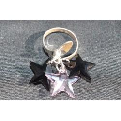 Bague argent 925 et crystal de Swarovski breloque rosaline et jet