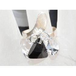 Bague argent 925 et crystal de Swarovski breloque crystal et jet