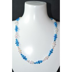"Collier ""océan"" cristal de Swarovski crystal ab2x et capri blue ab2x"
