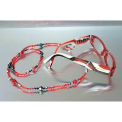 Cordon de lunettes en cristal, hématite 2x, light siam ab