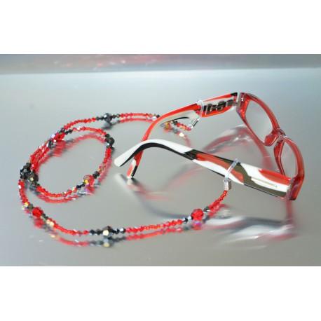 Cordon de lunettes en crystal de Swarovski hématite 2x-light siam ab