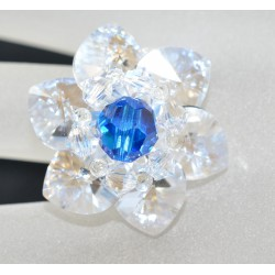 Bague cristal de Swarovski crystal moonlight avec ronde capri blue ab