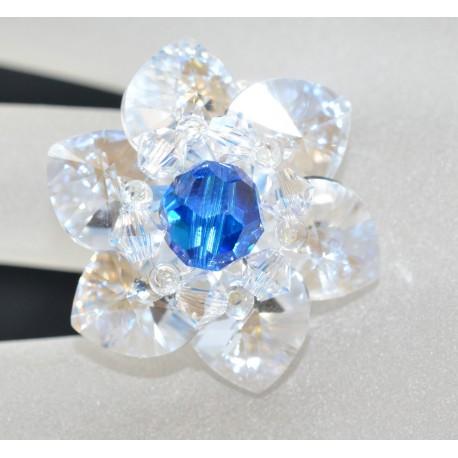 Bague cristal de Swarovski étoile fireopal ab et hématite 2x