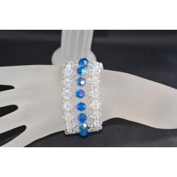 """Bracelet cristal  Swarovski """"Un jour une nuit"""" crystal moonlight et capri blue ab"""