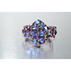 Petite bague cristal Swarovski améthiste ab2x