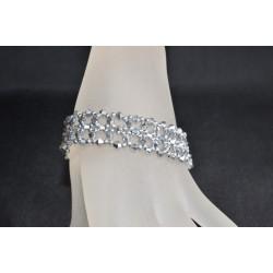Bracelet cristal  Swarovski manchette dentelle crystal comet argent 2x