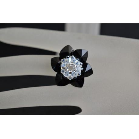 Bague cristal de Swarovski jolie fleur jet-crystal moonlight