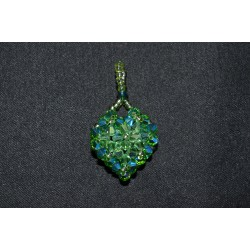 Pendentif cristal Swarovski coeur péridot ab-fern green ab2x