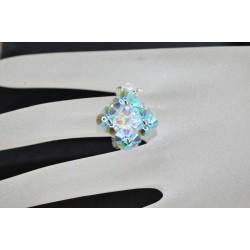 Petite bague cristal Swarovski turquoise ab2x et crystal ab2x