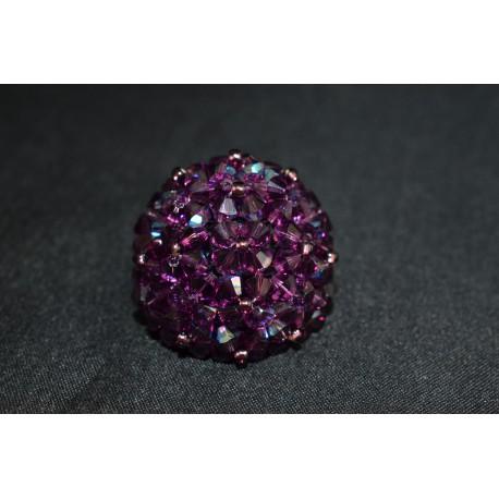 Bague cristal de Swarovski boule purple velvet ab