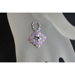 Pendentif cristal Swarovski carré crystal comet argent 2x-rosaline ab2x