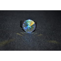 Bague cabochon rond en crystal de Swarovski 14 mm crystal ab