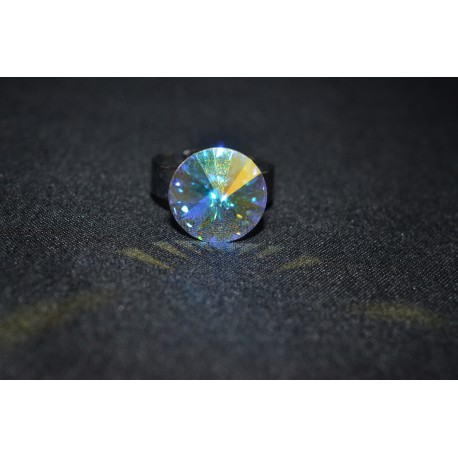 Bague cabochon 14 mm crystal ab