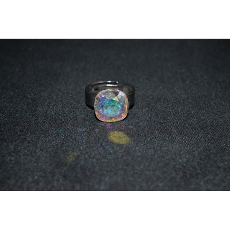 Bague cabochon carré en crystal de Swarovski 12 mm crystal ab