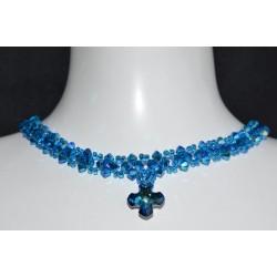 Ras du cou en cristal Swarovski croix Grecque crystal bermuda blue tour de cou capri blue ab2x