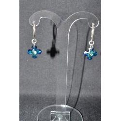 Boucles d'oreille cristal de Swarovski argent 925 croix Grecque bermuda blue