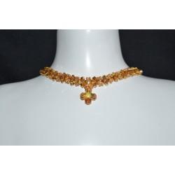 Ras du cou en cristal de Swarovski croix Grecque crystal metallic sunshine ab2x