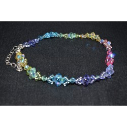 """Bracelet de cheville en cristal de Swarovski """"Arc-en-ciel"""" multicouleur"""