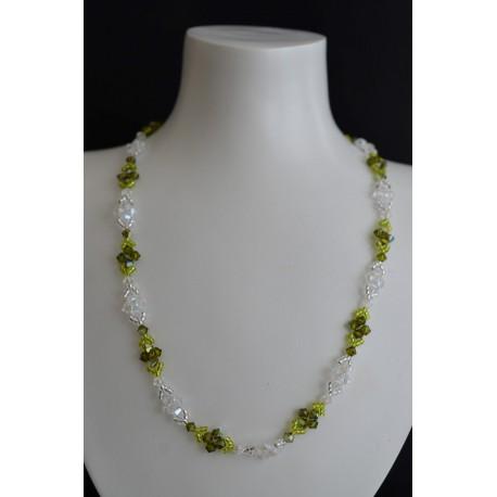 """Collier """"naturel"""" cristal de Swarovski crystal moonlight et olivine ab"""