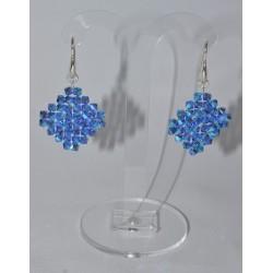 Boucles d'oreille Swarovski argent 925 losange sapphire  ab2