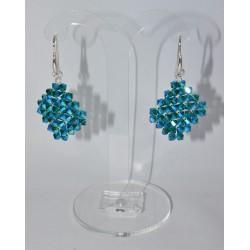 Boucles d'oreille Swarovski argent 925 losange emerald ab2x