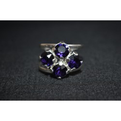Bague 4 sertis, cabochon rivoli 6 mm purple velvet