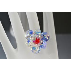 """Bague cristal de Swarovski """"Féerie"""" crystal ab et light siam ab rivoli et coeur"""