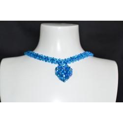 Ras du cou cristal Swarovski coeur capri blue ab2x